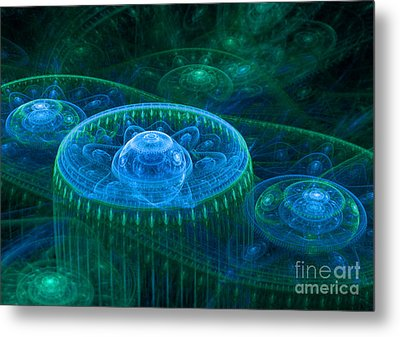 Blue Green Fantasy Landscape Metal Print
