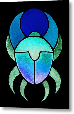 Blue Green Scarab Metal Print