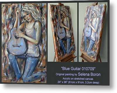 Metal Print featuring the painting Blue Guitar 010709 Comp by Selena Boron