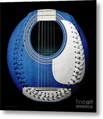 Blue Guitar Baseball White Laces Square Metal Print by Andee Design