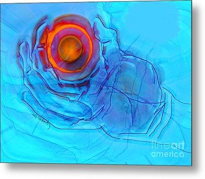 Blue Hand Metal Print