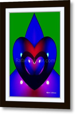 Metal Print featuring the painting Blue Hearts by Rafael Salazar