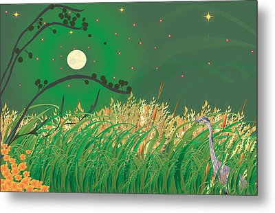 Blue Heron Grasses Metal Print by Kim Prowse