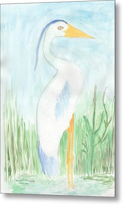 Blue Heron In The Tules Metal Print by Helen Holden-Gladsky