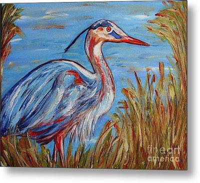 Blue Heron Metal Print by Jeanne Forsythe