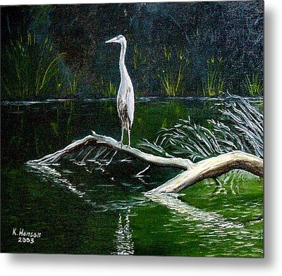 Metal Print featuring the mixed media Blue Heron by Kenny Henson