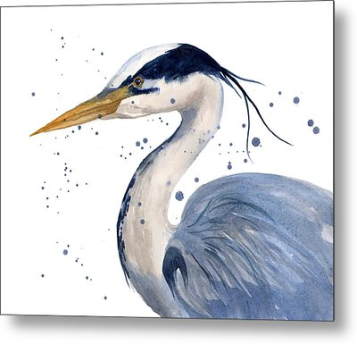 Blue Heron Painting Metal Print by Alison Fennell
