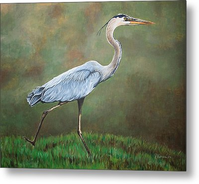 Blue Heron Metal Print by Pam Kaur