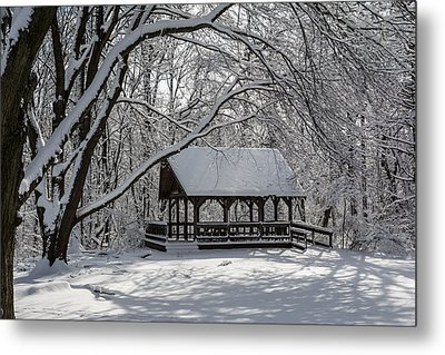 Blue Heron Park After Snowfall Metal Print by Kenneth Cole