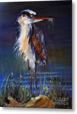 Metal Print featuring the painting Blue Heron by Priti Lathia