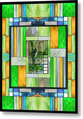 Blue Heron Stained Glass Metal Print
