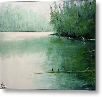 Metal Print featuring the mixed media Blue Heron Watch by Kenny Henson