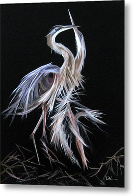 Blue Herons Mating Dance Metal Print by LaVonne Hand
