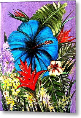 Blue Hibiscus Metal Print by Valarie Pacheco