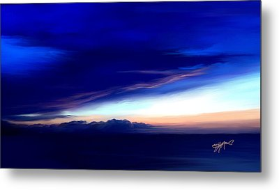 Metal Print featuring the digital art Blue Horizon Dawn Over Sea by Anthony Fishburne