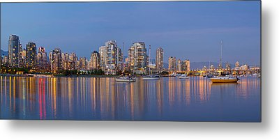 Metal Print featuring the photograph Blue Hour At False Creek Vancouver Bc Canada by JPLDesigns
