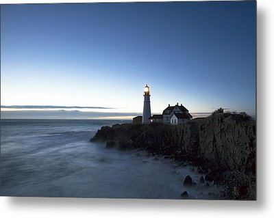 Blue Hour At Portland Head Metal Print by Eric Gendron