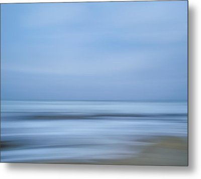 Blue Hour Beach Abstract Metal Print