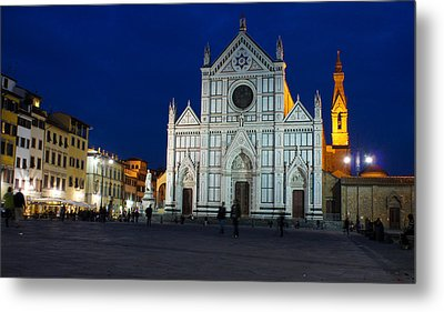 Blue Hour - Santa Croce Church Florence Italy Metal Print