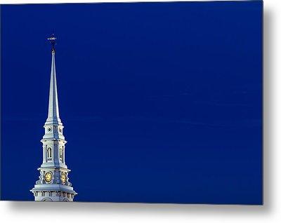 Blue Hour Steeple Metal Print by Jeff Sinon