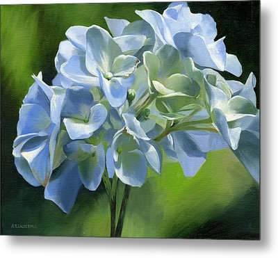 Metal Print featuring the painting Blue Hydrangea by Alecia Underhill