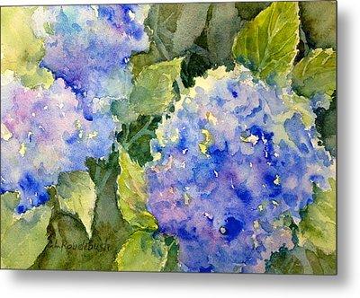 Blue Hydrangea Metal Print by Cynthia Roudebush