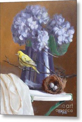 Blue Hydrangeas And Yellow Finch Metal Print by Viktoria K Majestic