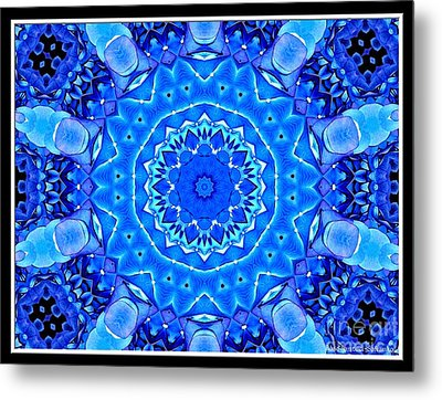 Metal Print featuring the photograph Blue Hydrangeas Flower Kaleidoscope by Rose Santuci-Sofranko