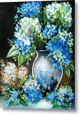 Metal Print featuring the painting Blue Hydrangeas by Patrice Torrillo