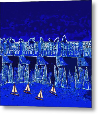 Metal Print featuring the painting Blue II Toy Sailboats In Lake Worth by David Mckinney