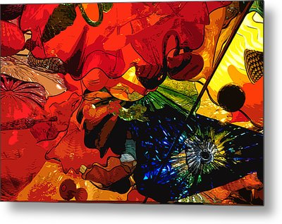 Metal Print featuring the digital art Blue In A Playground Of Red by Kirt Tisdale