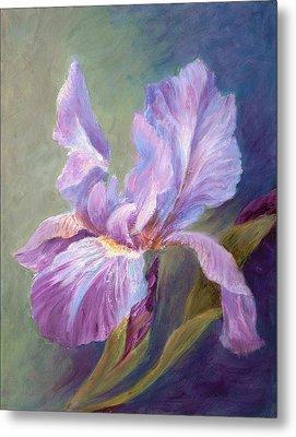 Blue Indigo Iris Metal Print by Irene Hurdle