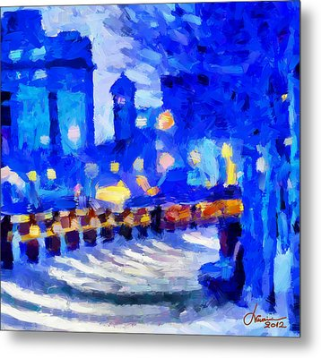 Blue January Night In The City Tnm Metal Print by Vincent DiNovici