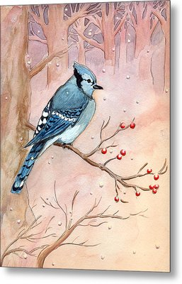 Metal Print featuring the painting Blue Jay by Katherine Miller