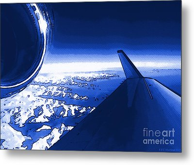 Blue Jet Pop Art Plane Metal Print