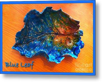 Blue Leaf Ceramic Design 3 Metal Print by Joan-Violet Stretch