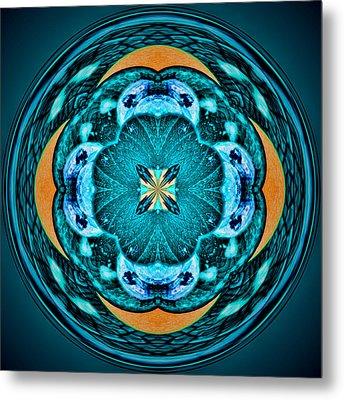 Blue Leaf Mandala Kaleidoscope Metal Print