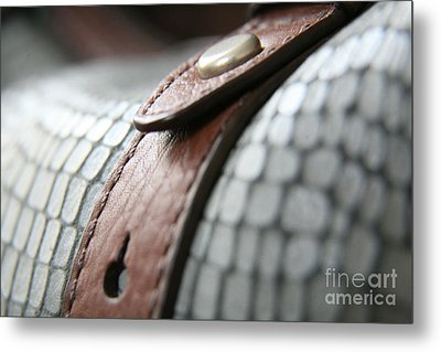 Metal Print featuring the photograph Blue Leather by Lynn England