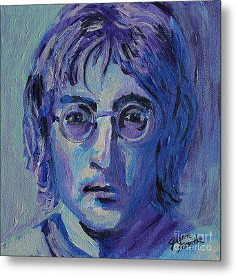 Metal Print featuring the painting Blue Lennon by Jeanne Forsythe