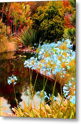 Blue Lily Water Garden Metal Print by Amy Vangsgard