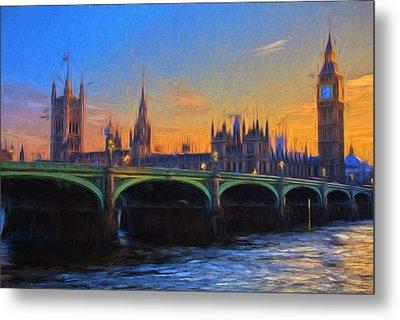 Metal Print featuring the painting Blue London by Douglas MooreZart