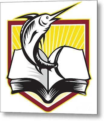 Blue Marlin Fish Jumping Book Retro Metal Print by Aloysius Patrimonio
