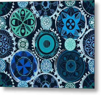 Metal Print featuring the digital art Blue Medallions  by Lisa Noneman