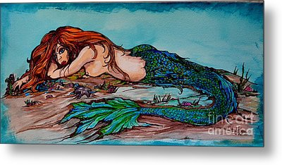 Blue Mermaid Metal Print by Valarie Pacheco