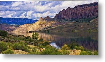 Blue Mesa Reservoir Digital Painting Metal Print by Priscilla Burgers