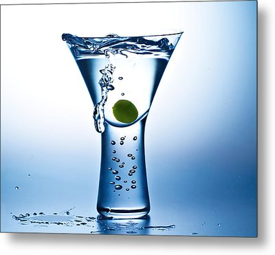 Blue Mood Martini Metal Print by John Hoey
