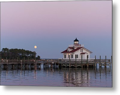 Blue Moon At Roanoke Marshes Lighthouse Metal Print