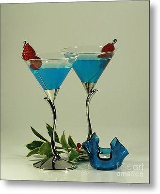 Blue Moon Curacao Cocktails For Two Metal Print by Inspired Nature Photography Fine Art Photography