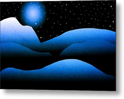 Blue Moon Mountain Landscape Art Metal Print by Christina Rollo