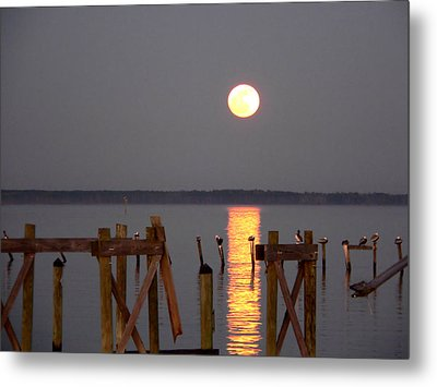 Blue Moon On The Bay On New Years Eve 2009 Metal Print